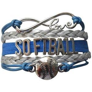 Girls Softball Bracelet - Blue & Silver
